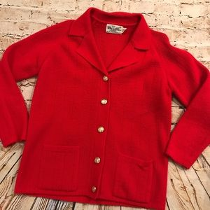 VTG Merville Fashions Womens Red Cardigan Sweater